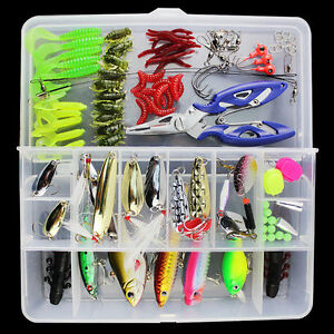 101Pcs Lot Fishing Lures Crankbaits Hooks Minnow Spinner Baits Bass Tackle wBox