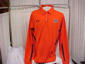 NCAA Auburn Tigers Sideline Under Armour Heat Gear Long Sleeve Polo Size Large