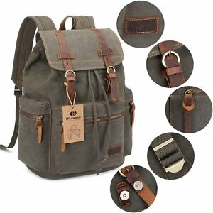 Vintage Canvas Backpack Laptop Sleeve School Travel Rucksack Leather Green