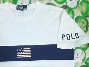 VINTAGE POLO RALPH LAUREN USA FLAG SPELL OUT T SHIRT M SPORT PWING STADIUM BEAR