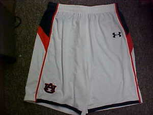 NCAA Auburn Tigers Game Worn WhiteNavy Under Armour Basketball Shorts Size- 2XL