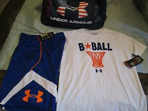 NEW Boys UNDER ARMOUR 2Pc BASKETBALL Outfit BlueOrg Shorts+Tee YXL FREE SHIP
