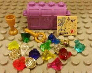 Lego NEW Pirate Purple Treasure Chest 11 Gems Jewels Gold Coins Key And Map