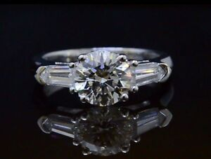 1.50ctw Natural Round Cut w Bullet Side Stones Diamond Engagement Ring - GIA
