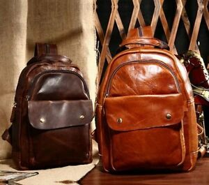 New Vintage Women's Genuine Leather Backpack Travel Bag Hand Bag BrownCoffee