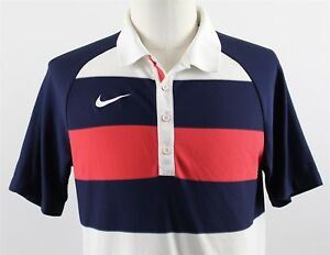 NEW Nike Golf Sport Rugby Stripe Polo Shirt MENS LARGE Blue Red 518074