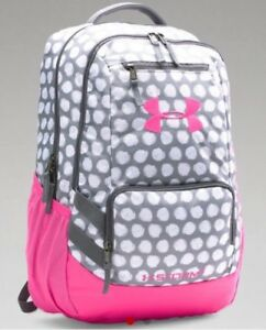 NEW Women's Girls Under Armour Storm Hustle School Backpack Gray Pink Polka Dot