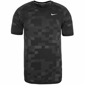 Nike Dri-Fit Knit Megapixel Contrast Shirt - Short-Sleeve - Mens BlackDark S