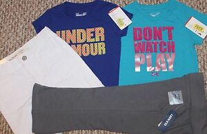 New! Girls 4 pc LotOutfit (2 Under Armour Shirts Shorts Yoga Pants) - Size 3T