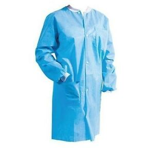 500 Jackets Lab Coat  Gown Disposable Knit collor unisex 10 box of 50