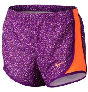 Nike Tempo Dri-Fit Girl's Running Gym shorts NWT Bold Berry Total Orange Printed