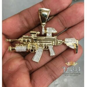 10K SOLID YELLOW WHITE GOLD Rifle Gun Pendant - AK-147 Machine Necklace Charm