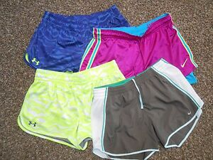 4pc! Women's NIKE Combat Pro Dry Fit & UNDER ARMOUR Gym Athletic Shorts Bottom M