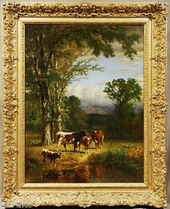 JAMES McDOUGAL HART GORGEOUS DATED 1881 OIL PAINTING COWS UNDER TREES NEAR BROOK