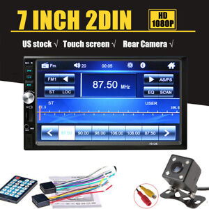 7'' 2-Din Touch Screen Car Radio Audio Stereo MP5 Player Bluetooth+Rear View Cam