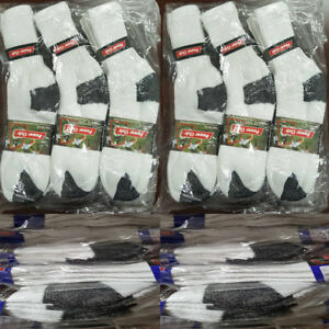Men WhiteBlack Cotton Cushion Sport Crew Socks Work Hiking Wholesale 9-11 10-13