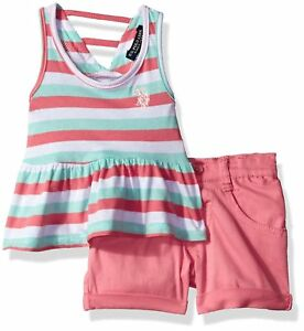 US Polo Assn. Childrens Apparel U.S. Baby Girls Peplum Tank Top and