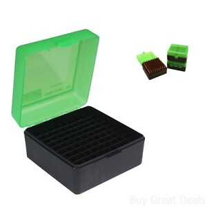 Gun MTM 100 Round Flip-Top Rifle Ammo Box Gear 22-25308 Win243 Green Snap-Lock