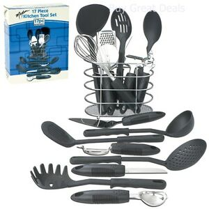 Kitchen Tools And Gadgets Set With Holder Maxam 17pc Home Black Cooking Utensils