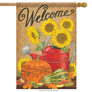 Fall Watering Can Welcome House Flag Autumn Pumpkin Acorn Double Sided 28