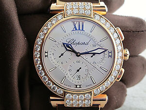 Chopard Imperial watch diamond chrono  Aut. 18k rose gold new box papers