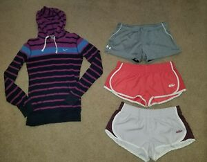 Girls Youth Large NikeUnder Armour Athletic Running Shorts Lot and Hooded Shirt