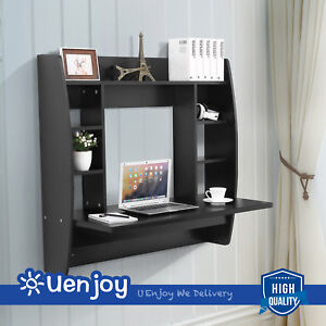 Floating Wall Mounted Office Computer Desk Home Office Table with Storage Black