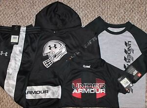 New! Boys Under Armour 4 pc LotOutfit (Hoodie 2 Shirts Pants) - Size 4