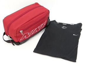 Auth NIKE Ladies Running Shirt DRI-FIT Size L Pouch Bag SET 20130693700 q08G