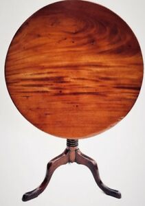 1750-1795 Chippendale Antique Table Federal Furniture Mahogany Tilt Top Table