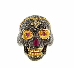 Sterling Silver Gold Plated Champagne Diamond and Ruby Skull Ring.