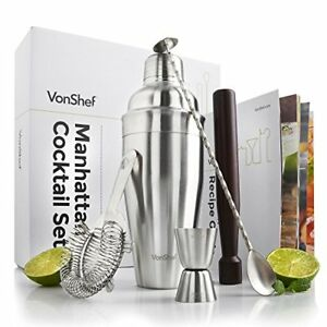 Cocktail Shaker Set 5 Piece Stainless Steel Professional Bartender Kit Bar Mixer