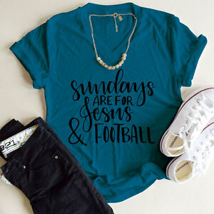 Sundays Are For Jesus and Football Womens Summer T-shirt Loose Tops Blouse
