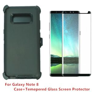Black For Samsung Galaxy Note 8 Defender Case w Screen & (Clip Fits Otterbox)