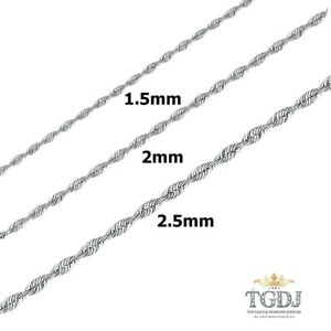 14K SOLID WHITE GOLD 1.5MM-2.5MM WOMEN MEN'S ROPE  LIGHT CHAIN NECKLACE 16