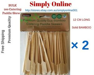 BULK 200 x BAMBOO CATERING PADDLE SKEWERS DISPOSABLE FINGER FOOD COCKTAIL BBQ