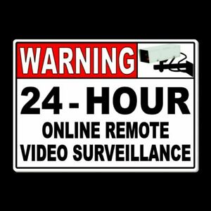Warning 24 Hour Online Remote Video Surveillance Sign security cctv Metal MS017