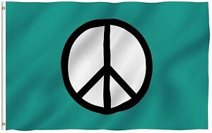 3x5 Peace Symbol Flag World Peace Flags Canvas Header and Double Stitched