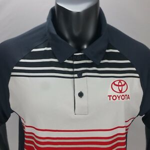 Mens XL TOYOTA Embroidered spell out Sport-Tec Polo Shirt Red White Blue EUC