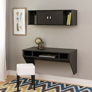 Designer Floating Office Student Desk and Hutch Set in Washed Black