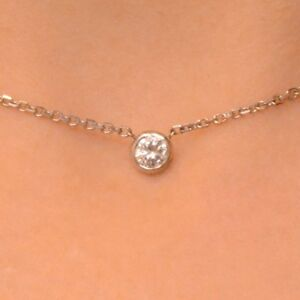 0.40 Ct. Diamond By The Yard Single Station Necklace Man Made 14k Gold 16""
