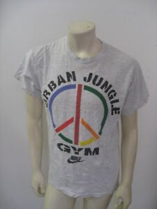 Vintage 1990s NIKE URBAN JUNGLE GYM Peace Sign Gray Cotton T Shirt Size LARGE