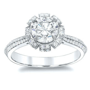 2.80ctw Natural Round FloralSolar Design 2 Row Pave Diamond Engagement Ring GIA