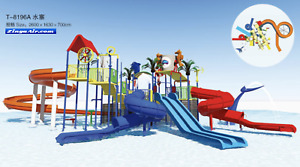 200x200x50 Commercial Water Park Playground Equipment Splash Slide We Finance
