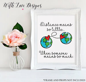 LONG DISTANCE RELATIONSHIP FRIENDSHIP PERSONALISED PRINT A5 A4 A3 GIFT PRESENT