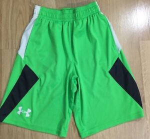 Under Armour Shorts Youth Small Lime Green Black $16.99
