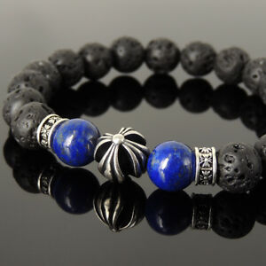 Men's Bracelet 10mm Lava Rock Lapis 925 Sterling Silver Cross Bead Spacers 1197M