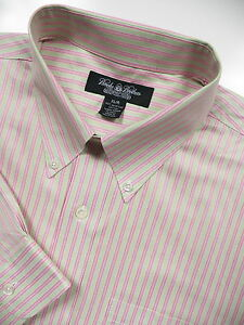 BROOKS BROTHERS MENS XL CASUAL SPORT SHIRT STYLISH GREEN PINK STRIPE EGYPT ITALY