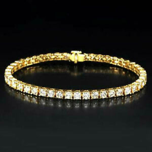 TENNIS BRACELET 8 CARAT DIAMOND WOMEN LADIES 18K YELLOW GOLD ANNIVERSARY GENUINE