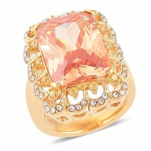 CHAMPAGNE CANARY SIMULATED DIAMOND AUSTRIAN CRYSTAL GOLD STEEL FASHION RING 10